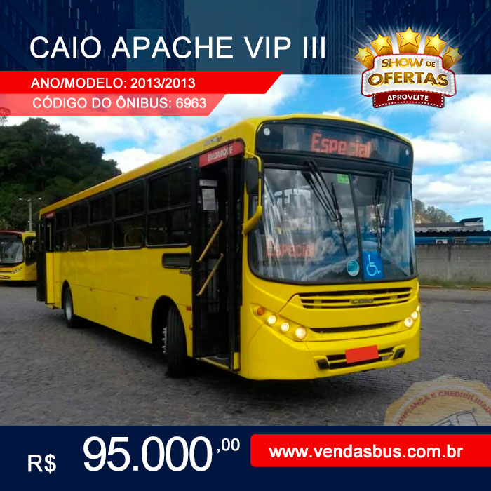 nibus Caio Apache Vip III Volks Bus 17 230 ODS Man Único Dono Seminovos–AnoModelo 2013