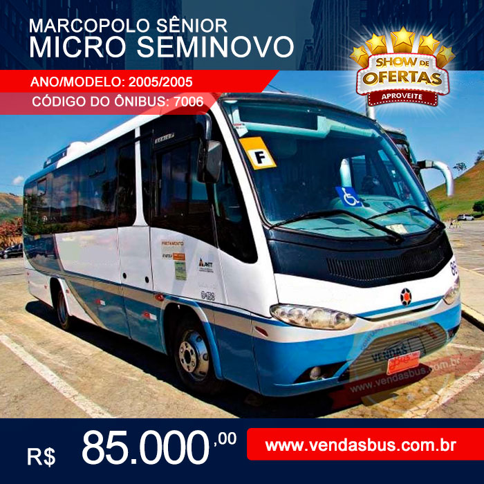micro seminovo turismo marcopolo senior volks bus 9 150 eod mwm ano modelo 2005 2005